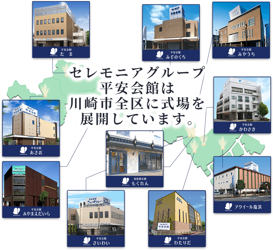 セレモニアグループ平安会館は川崎市全区に式場を展開しています。川崎市お葬式シェアNo.1